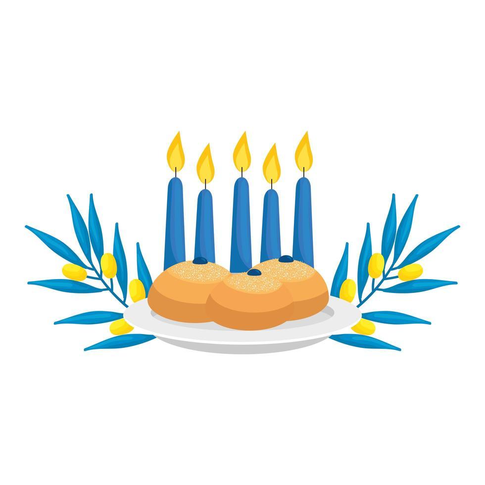 ensemble de pains ronds avec bougies et branches d'olivier vecteur