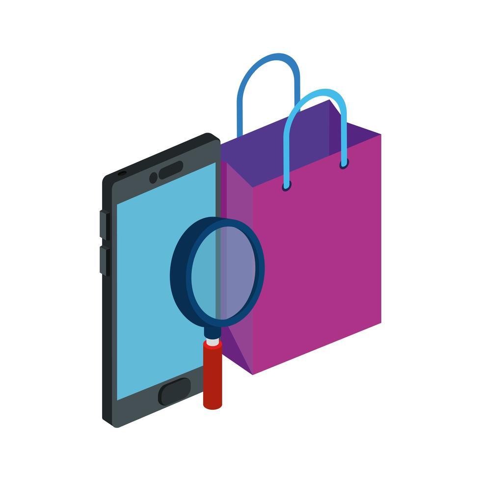 smartphone avec sac shopping et loupe vecteur