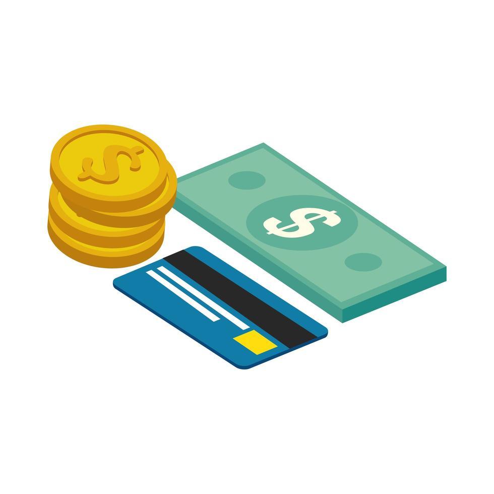 carte de crédit avec des factures de financement et des pièces de monnaie vecteur