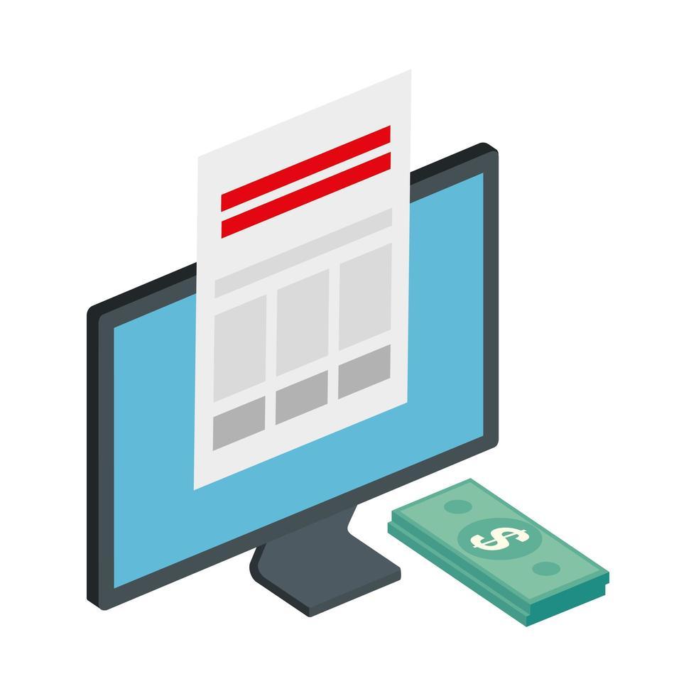 ordinateur avec pile de factures et document papier vecteur