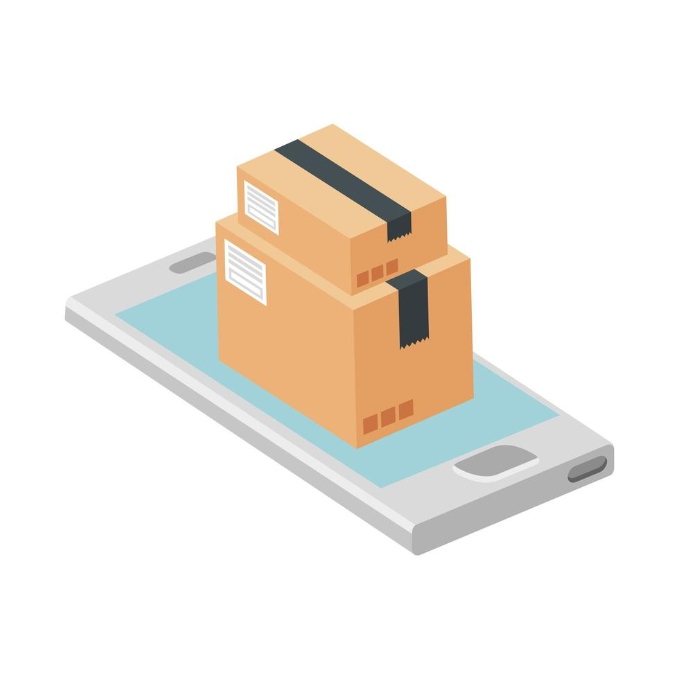 paquet de boîtes avec icône isolé smartphone vecteur