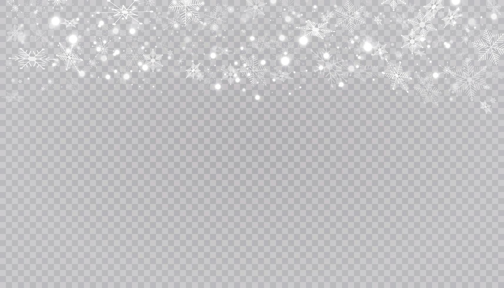 flocons de neige blanche sur fond. vecteur