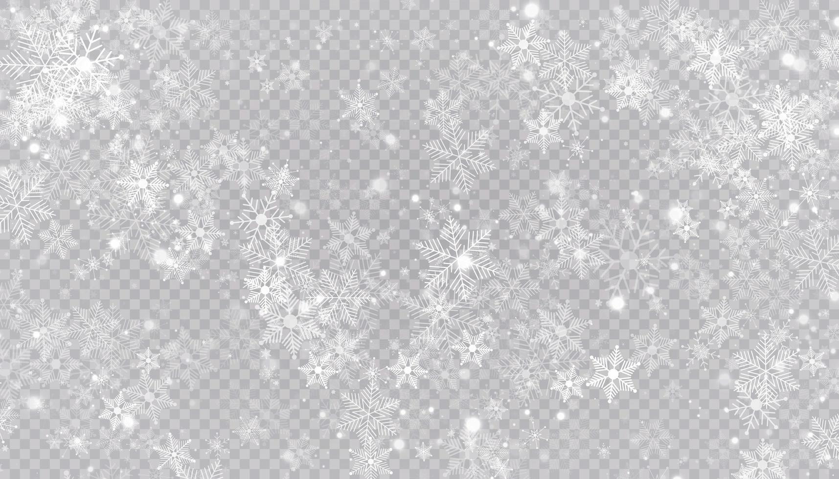 flocons de neige blanche sur fond transparent. vecteur