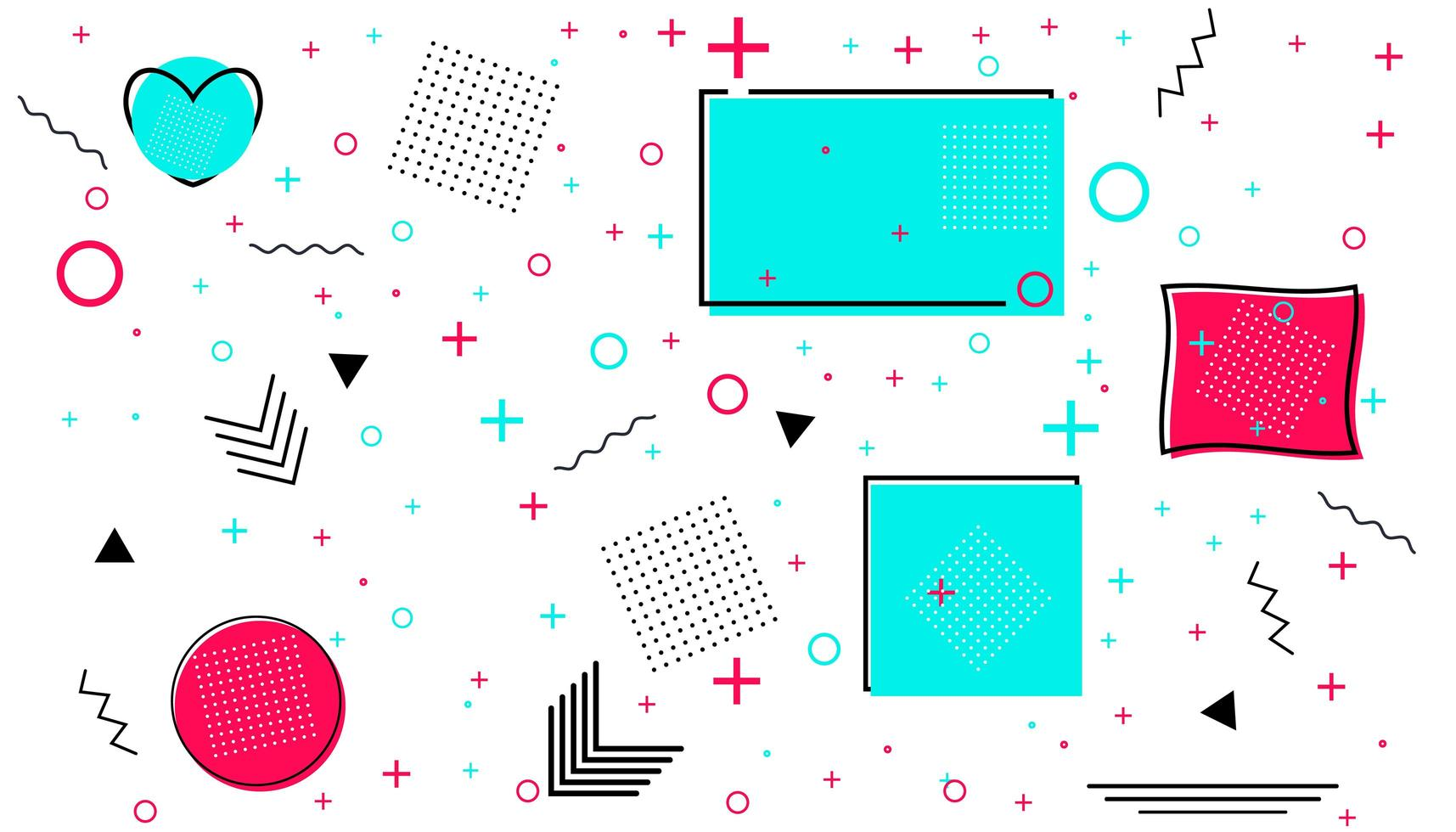 carte memphis avec des formes géométriques. design de mode de luxe - années 80-90. vecteur