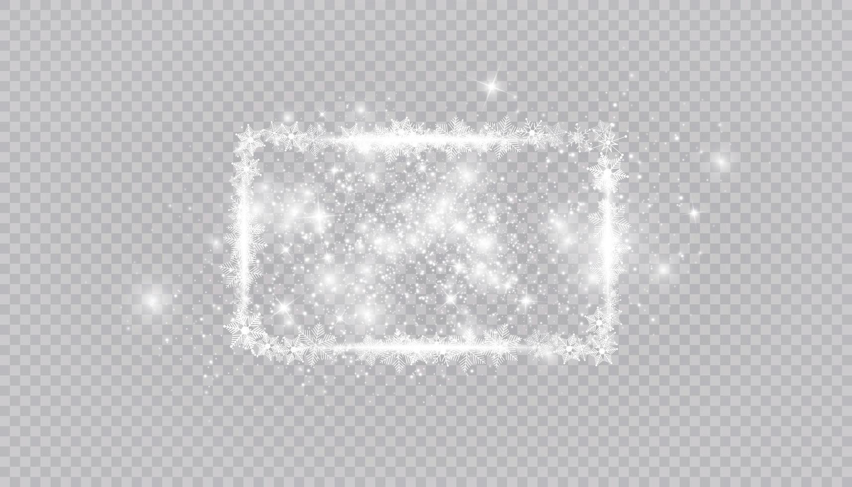 bordure de cadre de neige hiver rectangulaire avec étoiles, étincelles et flocons de neige vecteur