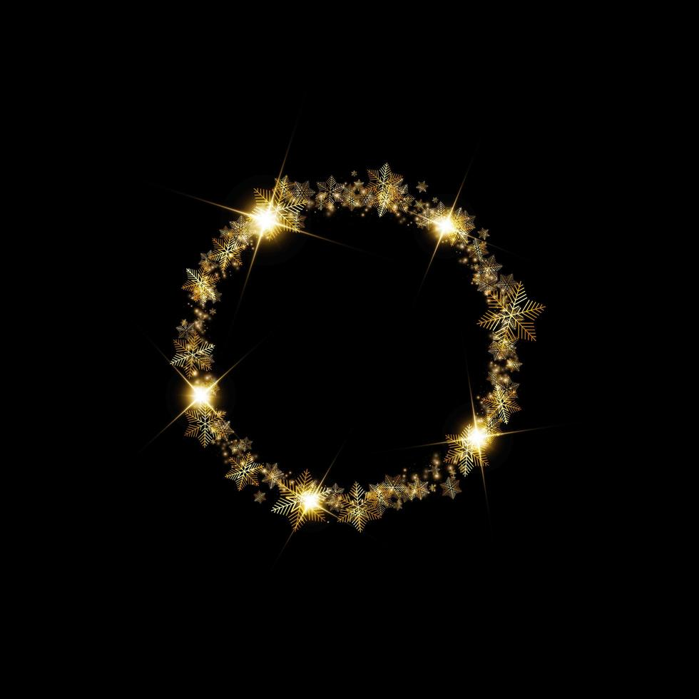 bordure de cadre de neige hiver doré rond avec étoiles, étincelles et flocons de neige sur fond noir vecteur