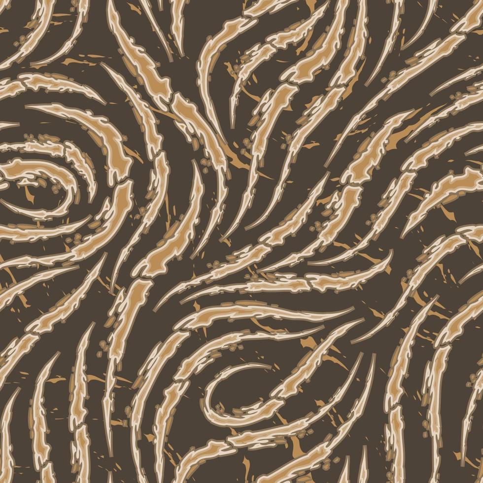 modèle sans couture de vecteur de coups de pinceau lisses avec des bords déchirés de couleur beige sur fond marron. texture de vague ou de flux. imprimer du papier peint ou du tissu.