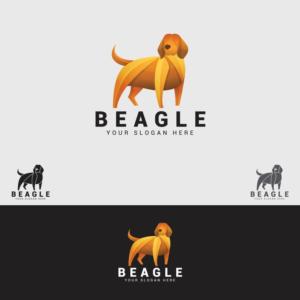 modèle de conception de logo de chien beagle vecteur