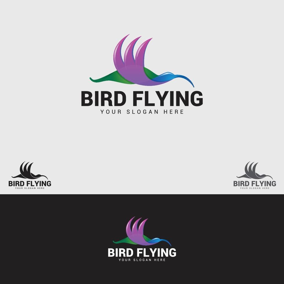 modèle de conception de logo oiseau volant vecteur