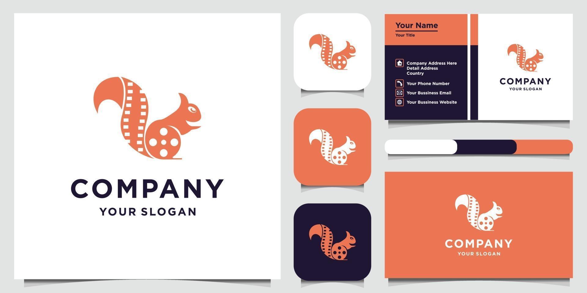 modèle de conception de logo de renard et carte de visite vecteur
