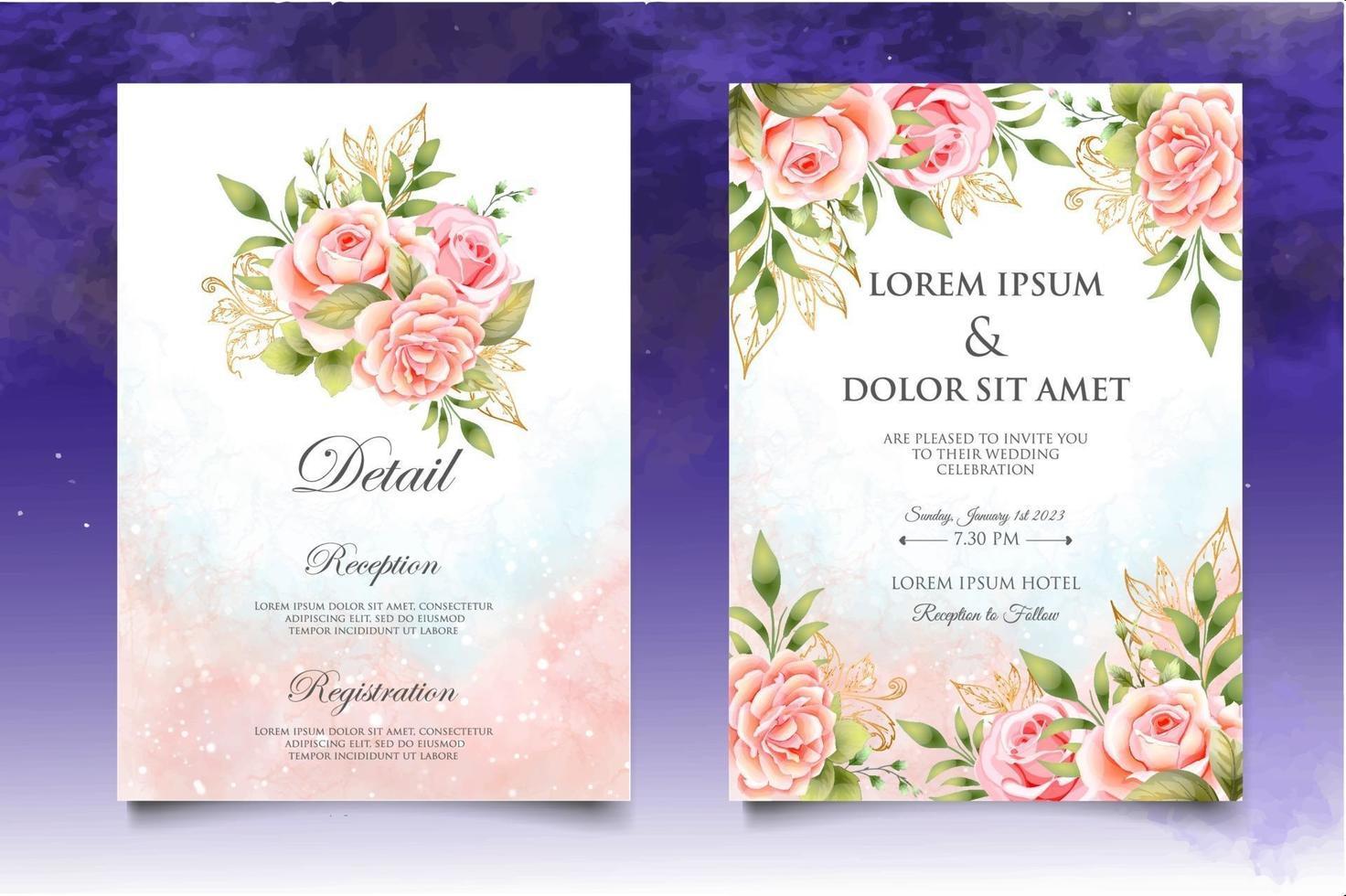modèle d'invitation de mariage floral beau dessin à la main vecteur