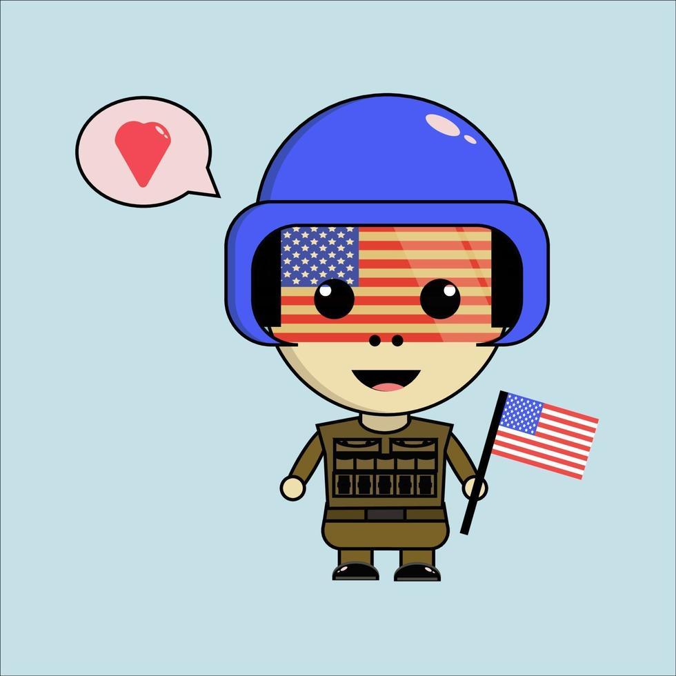 mignon personnage de l'armée américaine vecteur