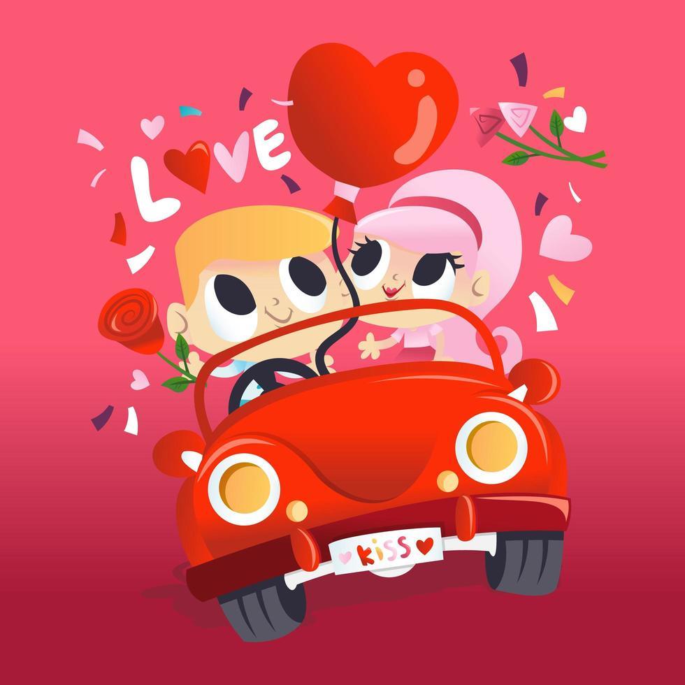 super joli couple amoureux en voiture vecteur