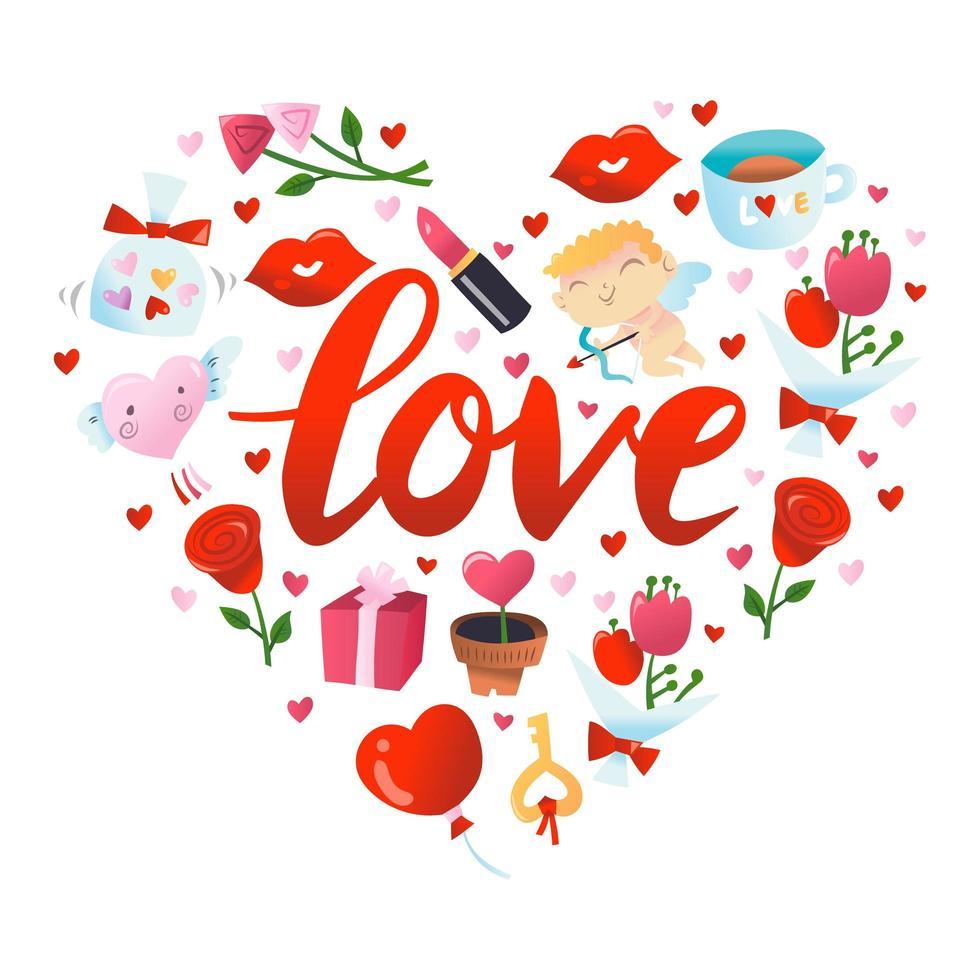 décoration de coeur super mignon pour la saint-valentin vecteur