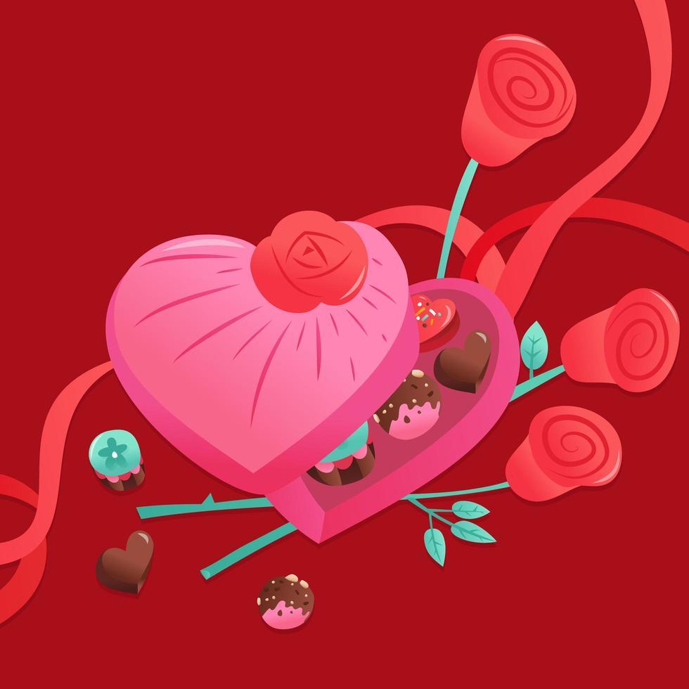 boîte de coeur de chocolats de bonbons de valentine vecteur