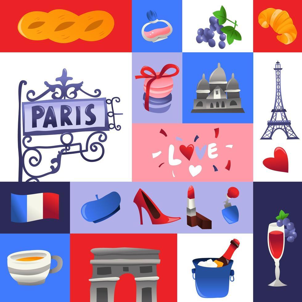 décoration de mosaïque de culture parisienne super mignonne vecteur