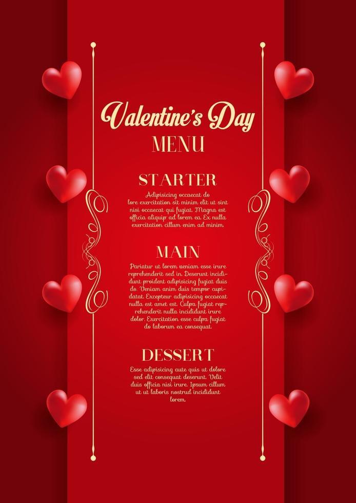menu de la saint valentin vecteur