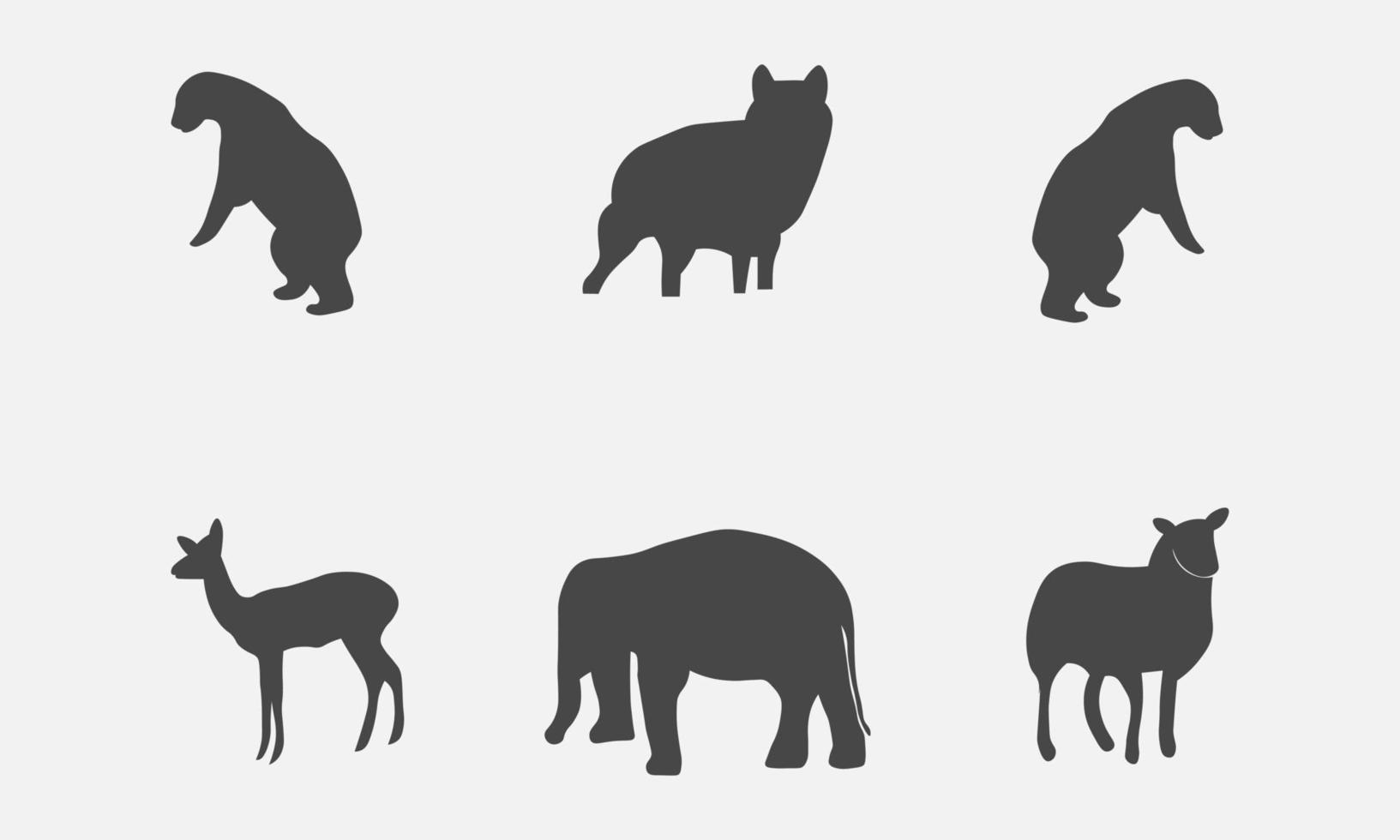 illustration vectorielle d & # 39; une collection de silhouettes de mammifères animaux vecteur