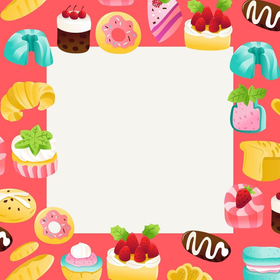 super mignon gâteaux desserts fond carré vecteur