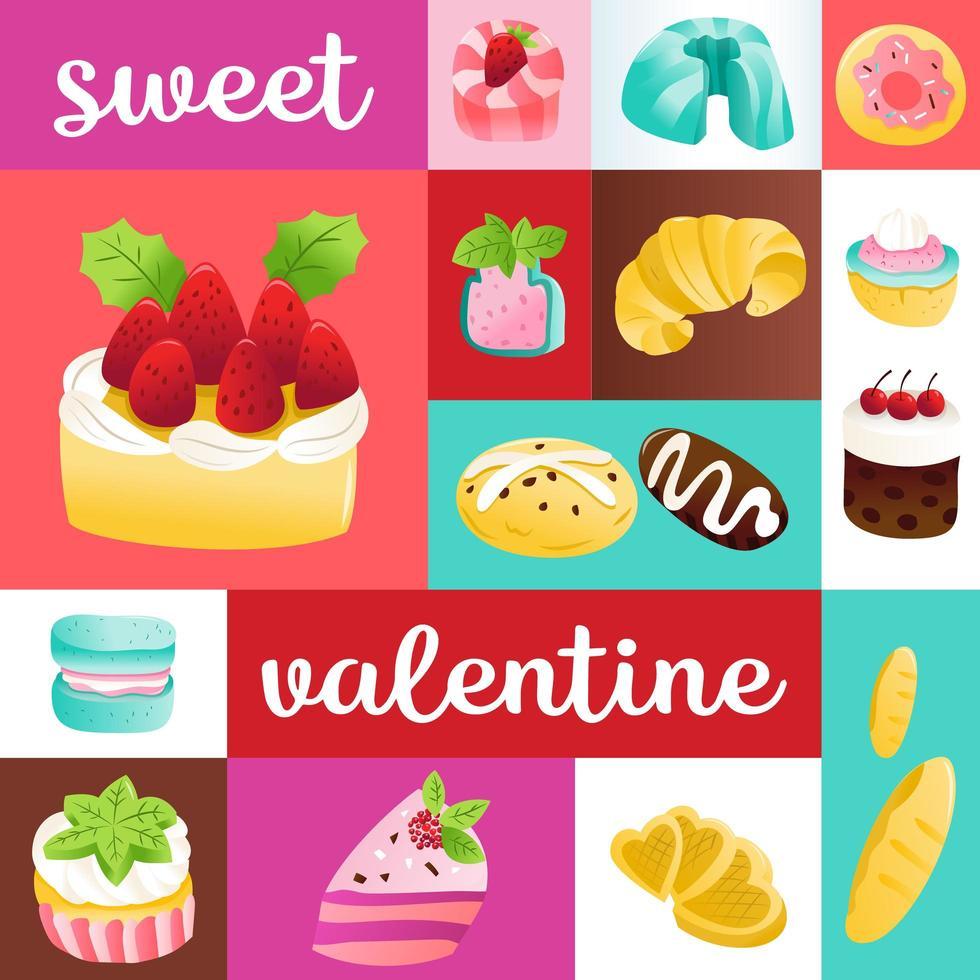 décoration de mosaïque de desserts de gâteaux super mignons vecteur