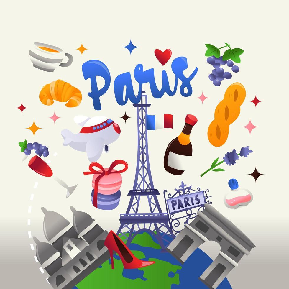 globe terrestre de voyage de culture parisienne super mignon vecteur