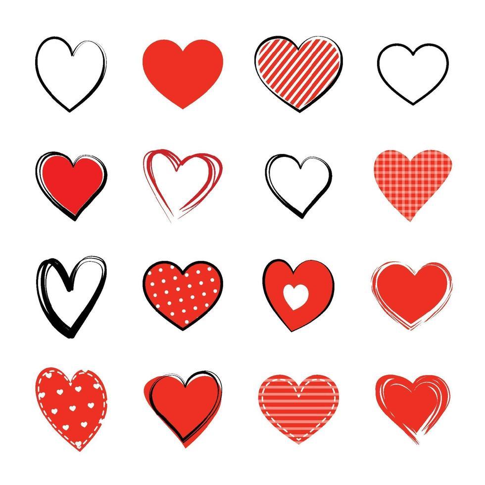 jeu de symboles coeur rouge. amour icône dessinés à la main isolé sur fond blanc. vecteur