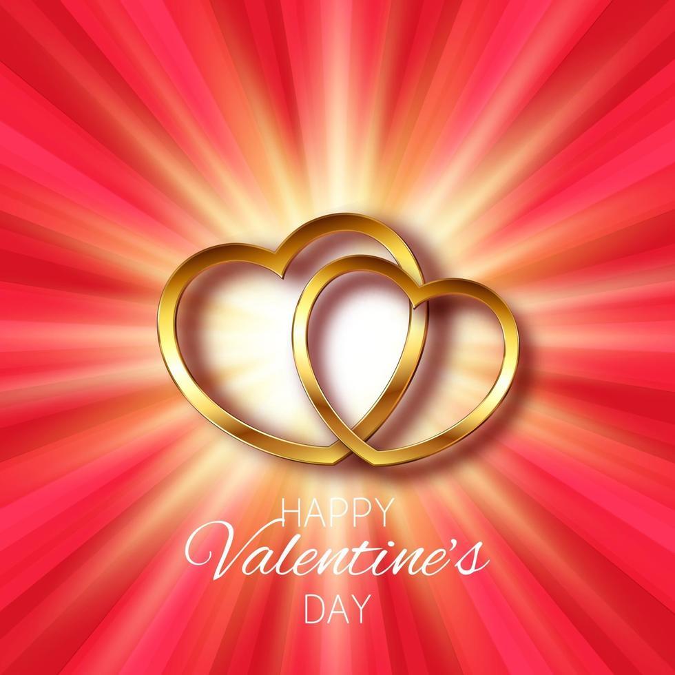 fond de saint valentin avec un design de coeurs en or vecteur