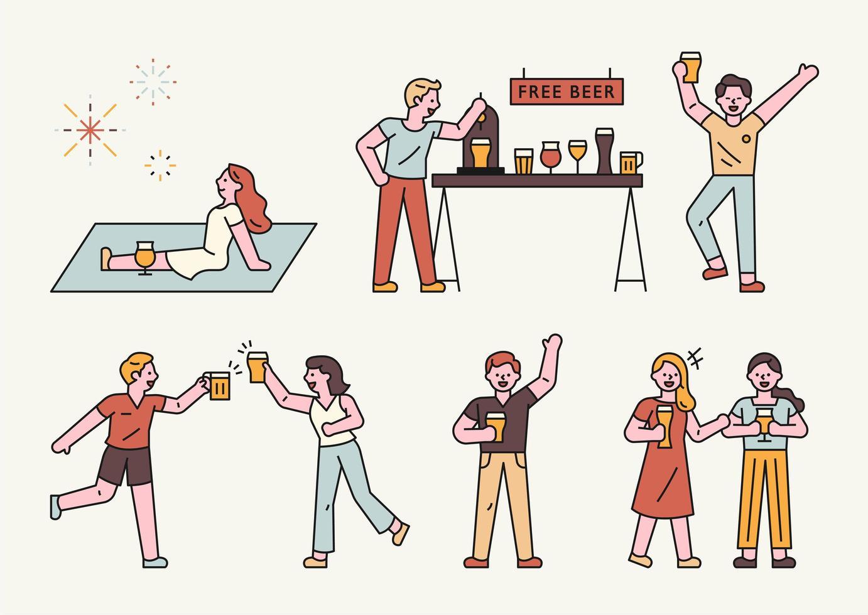festival de la bière d'été. vecteur