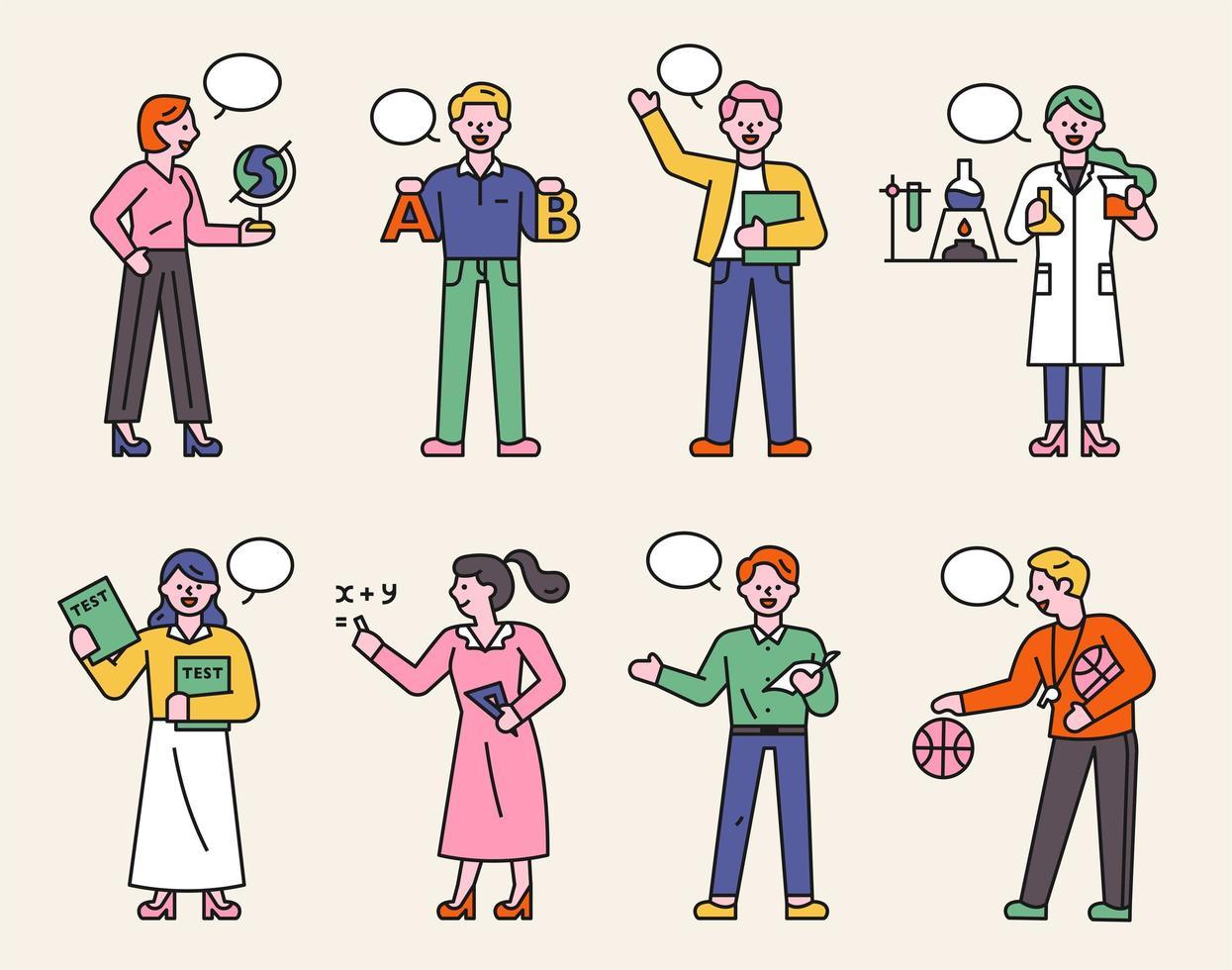 une collection de personnages d'enseignants dans diverses matières. vecteur