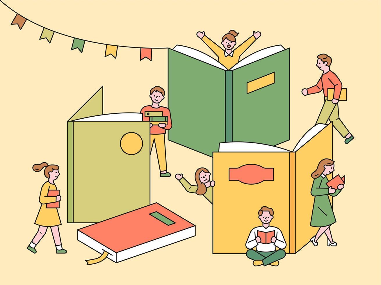 affiche du festival du livre. vecteur