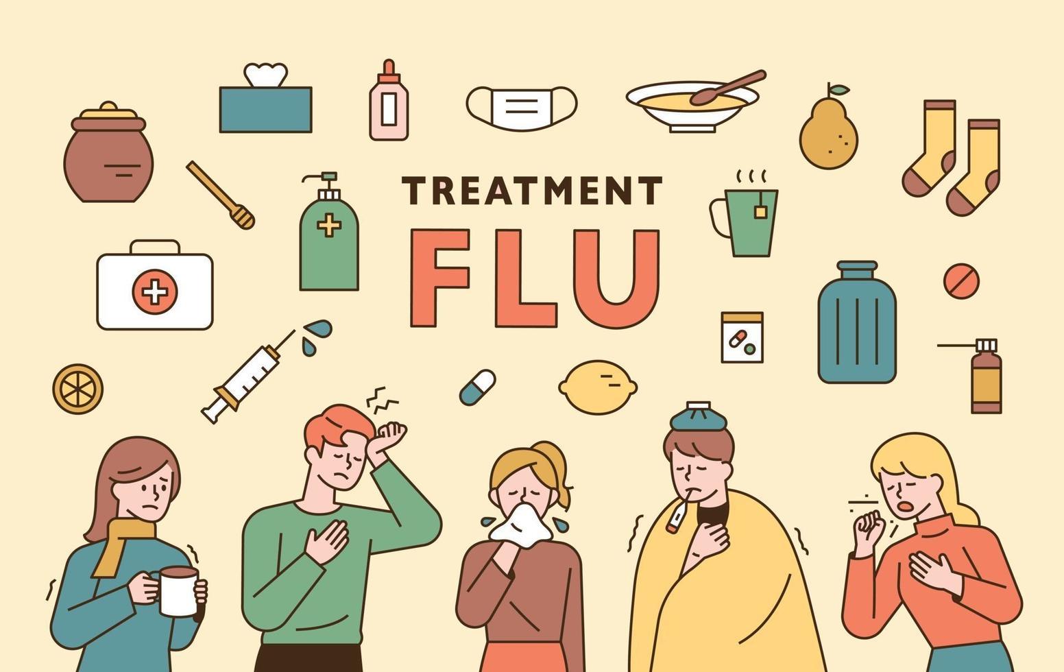 jeu d'icônes de grippe. vecteur