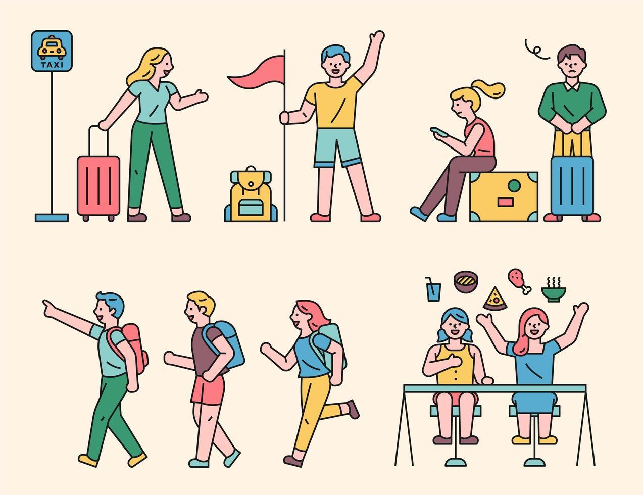 les gens partent en voyage. vecteur