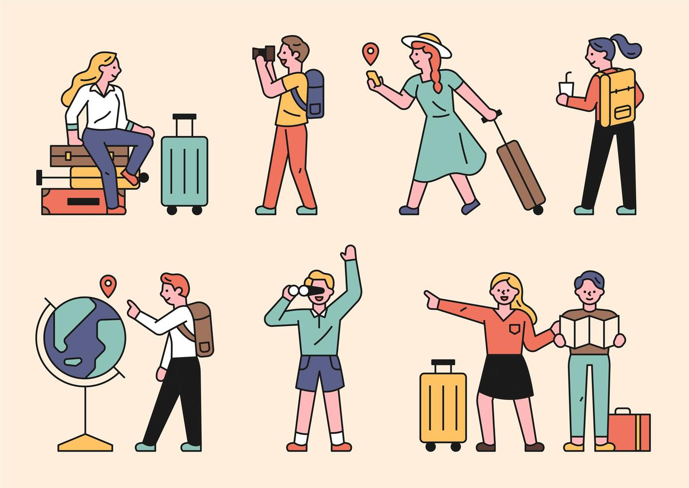 les gens qui font du tourisme avec des valises. vecteur