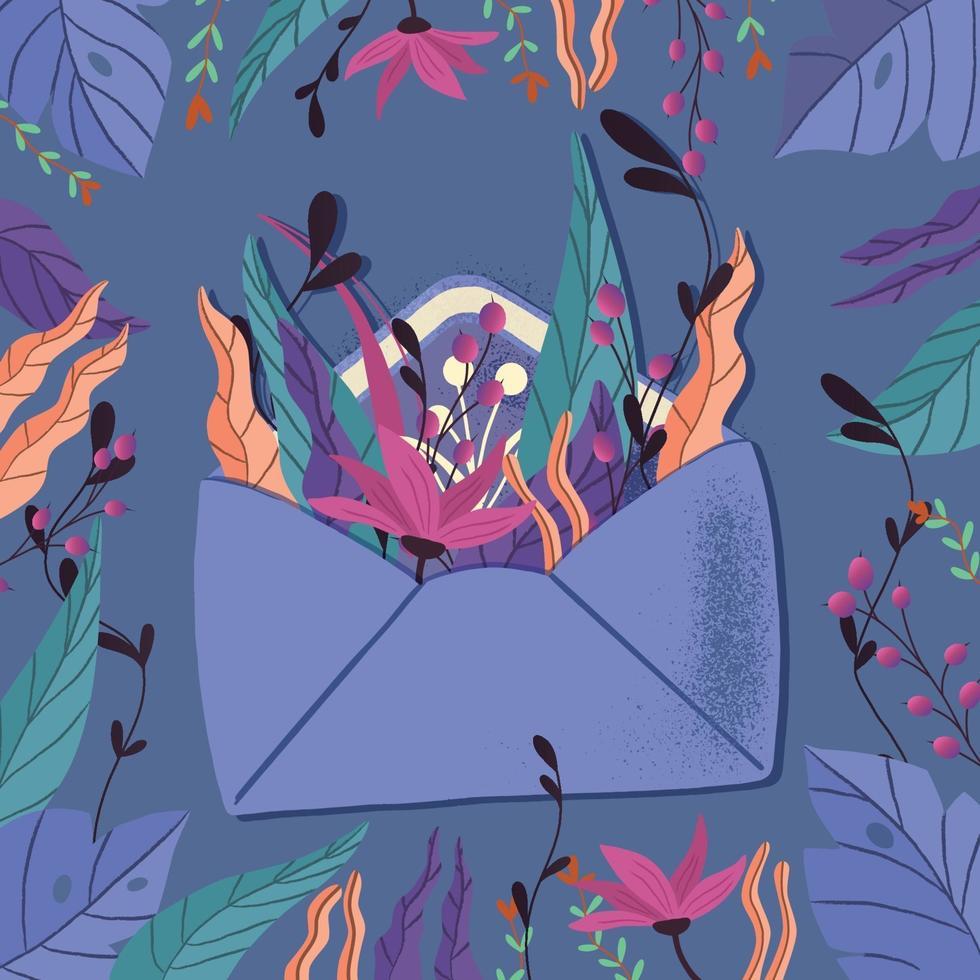 enveloppe avec lettre d'amour. illustration colorée dessinée à la main avec lettrage à la main pour la Saint Valentin heureuse. carte de voeux avec des fleurs et des éléments décoratifs. vecteur
