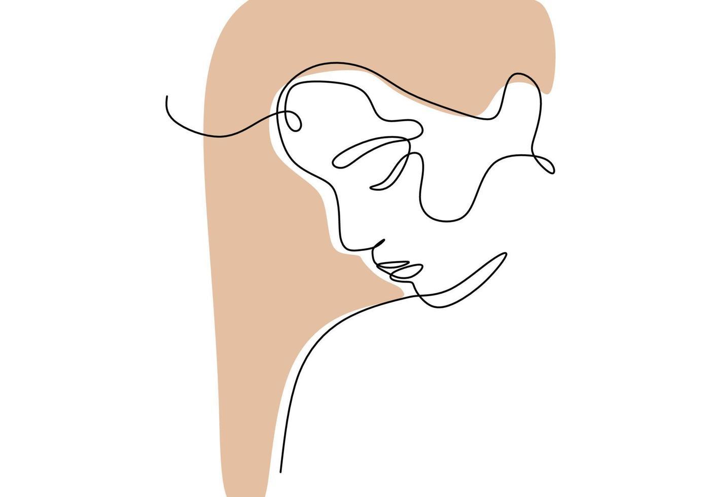 dessin au trait continu face abstraite. vecteur de minimalisme isolé sur fond blanc.