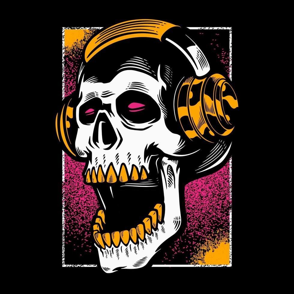 crâne dessiné à la main, écouter de la musique dans les écouteurs. vecteur