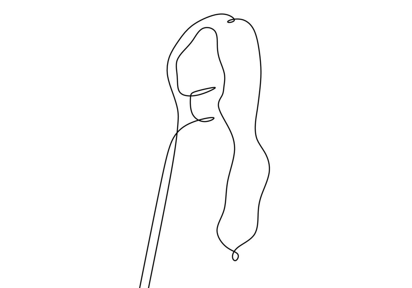 Une ligne continue de résumé de visage isolé sur fond blanc vecteur