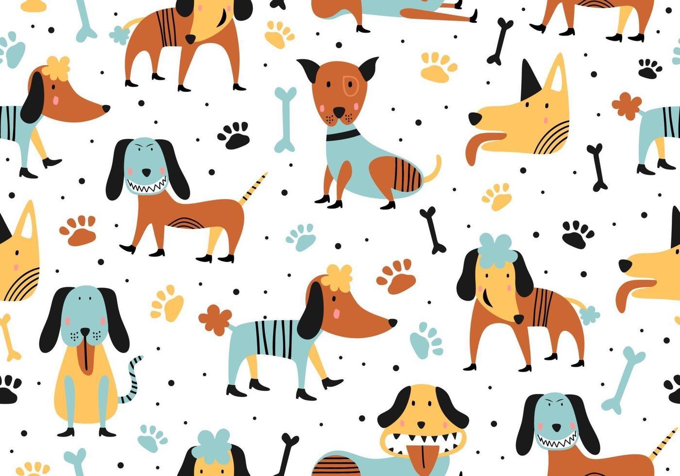 illustration de dessin animé sans couture animale avec des chiens mignons enfantins. vecteur