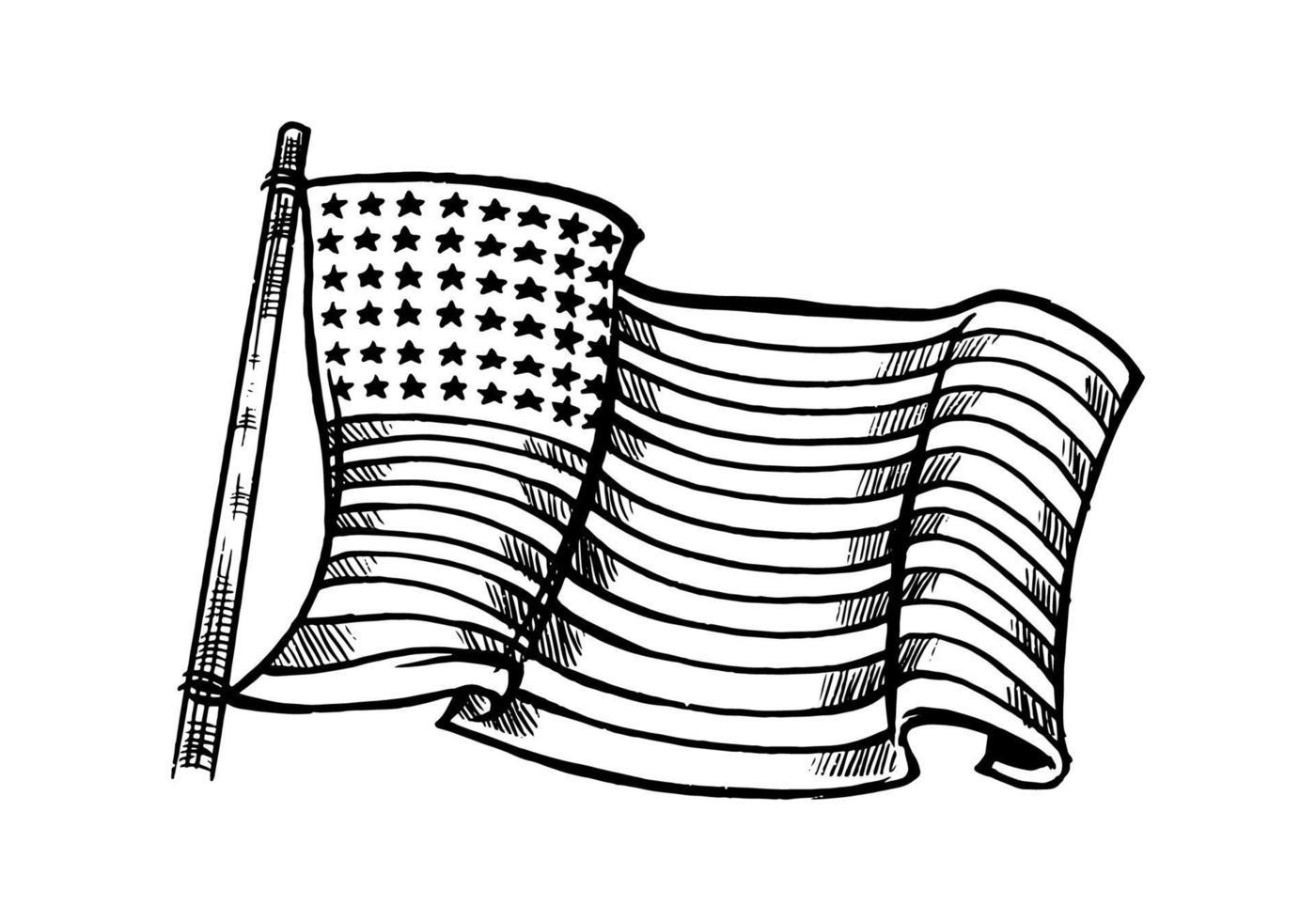 Élément de drapeau américain blanc noir dessiné à la main isolé sur fond blanc. illustration de drapeau américain monochrome pour symbole, emblème, fond, papier peint ou t-shirt isolé sur fond blanc. vecteur