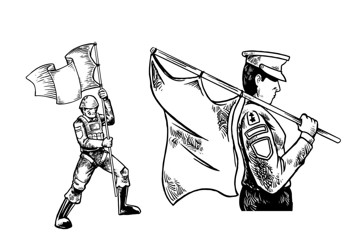 soldat dessiné à la main apportant l'illustration du drapeau isolé sur fond blanc. soldat monochrome apportant l'illustration du drapeau isolé sur fond blanc. vecteur