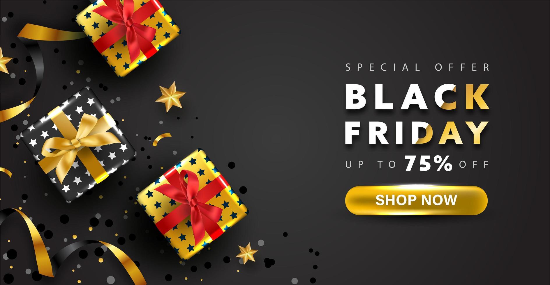 conception de fond vendredi noir. offre spéciale bannière d'achat en ligne. vecteur