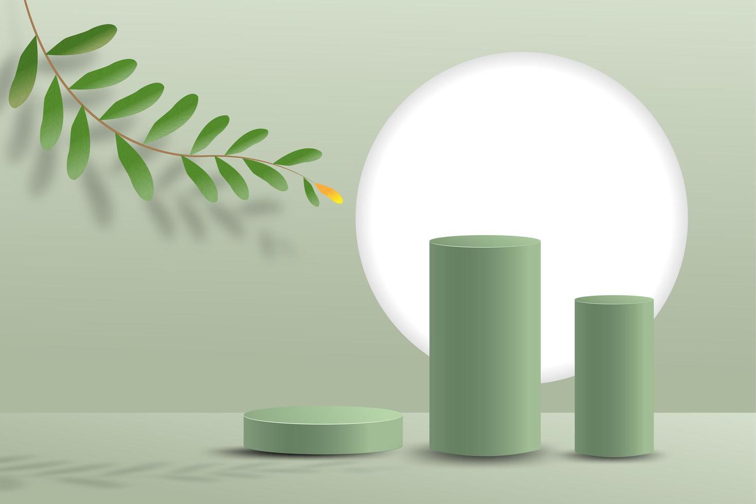 Scène minimale abstraite sur fond pastel avec podium cylindre et feuilles vecteur