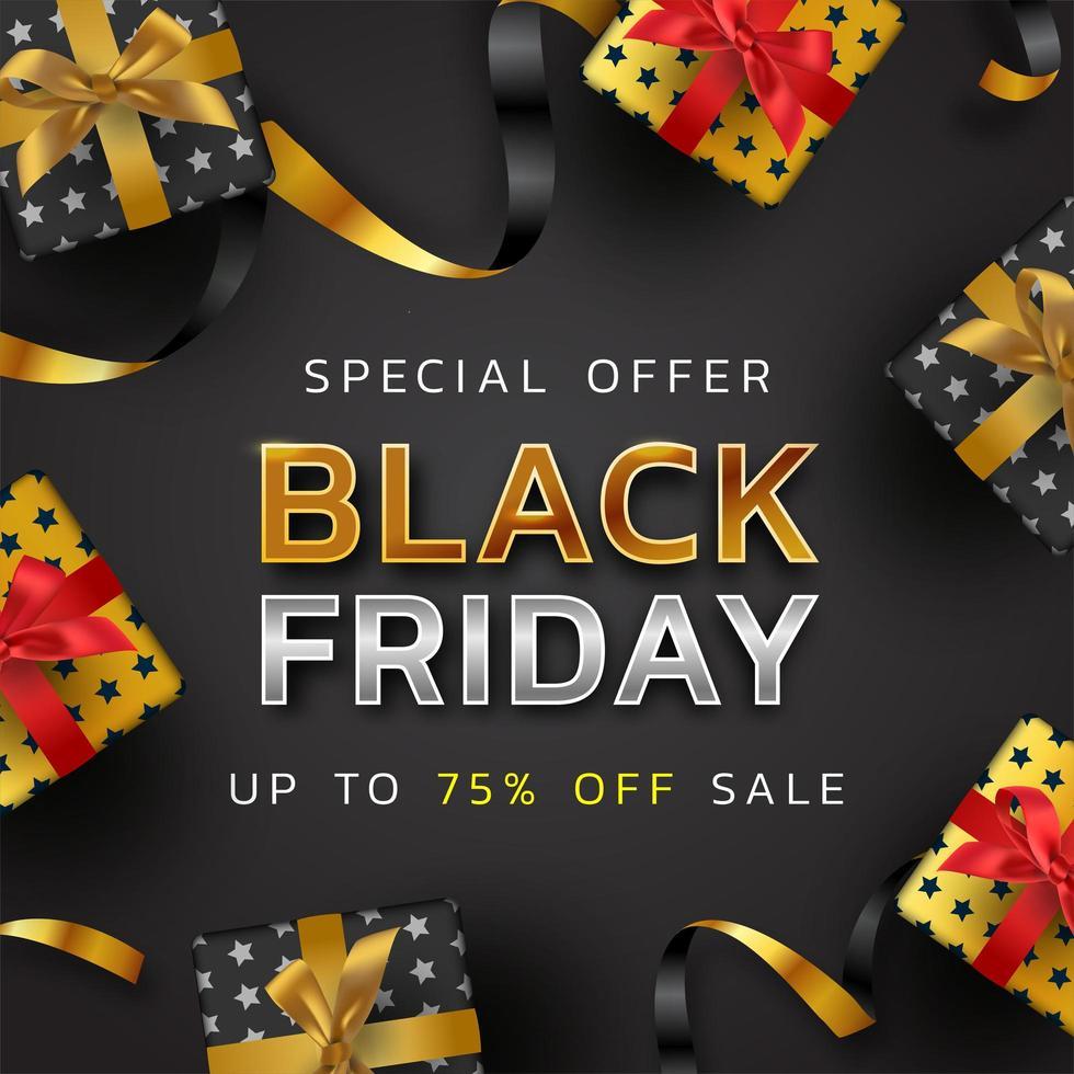 fond de vendredi noir ou bannière de vente de promotion offre spéciale pour entreprise et affiche publicitaire vecteur