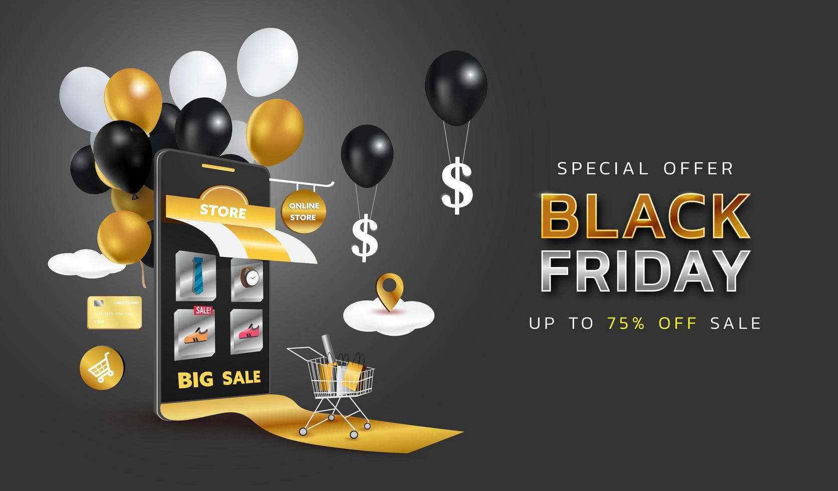 bannière de vente vendredi noir ou promotion sur fond sombre. boutique en ligne avec mobile, cartes de crédit et éléments de boutique. illustration vectorielle. vecteur