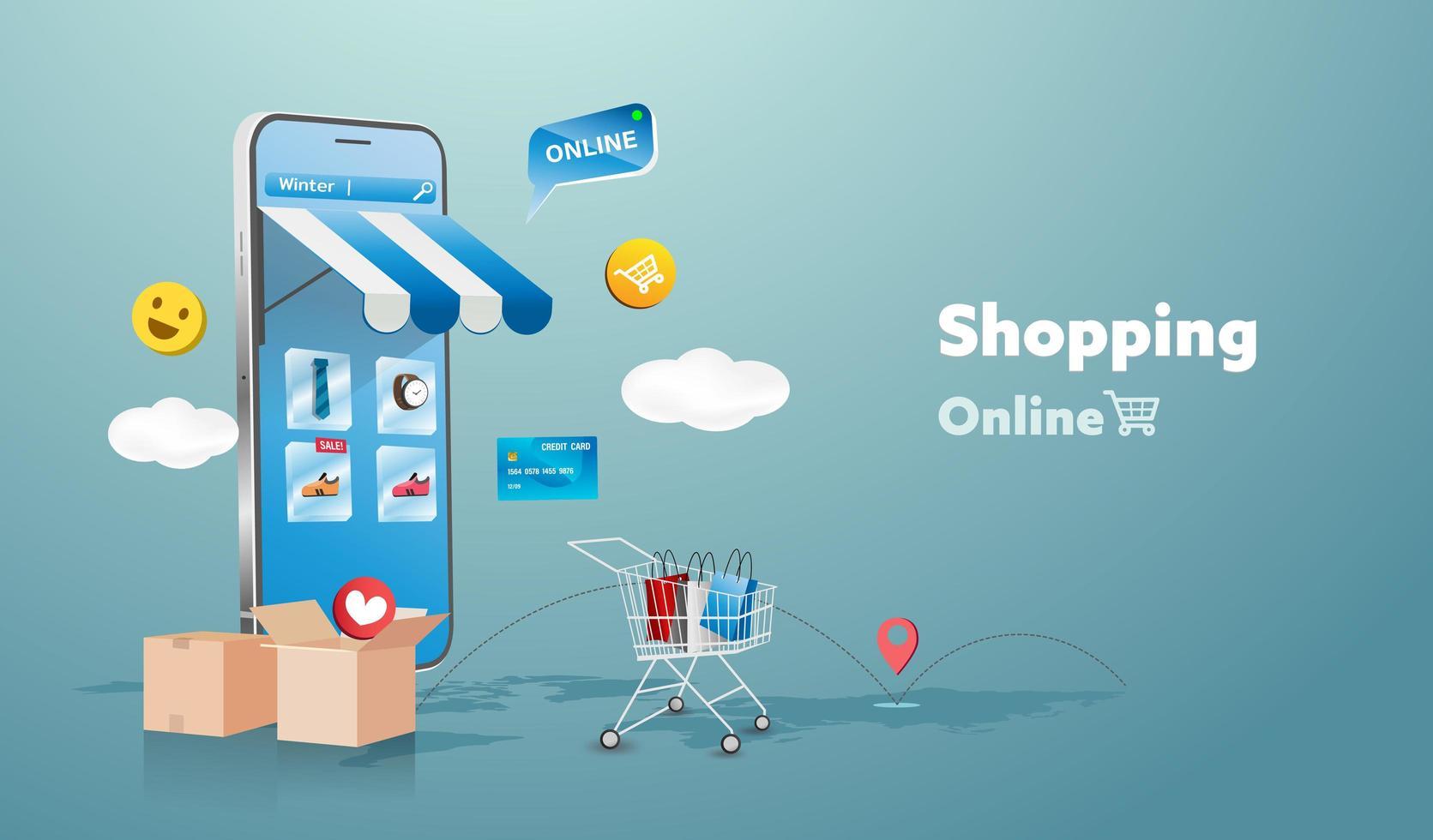 boutique en ligne sur le site Web et la conception de téléphones mobiles. concept de marketing d'entreprise intelligente. vue horizontale. illustration vectorielle. vecteur