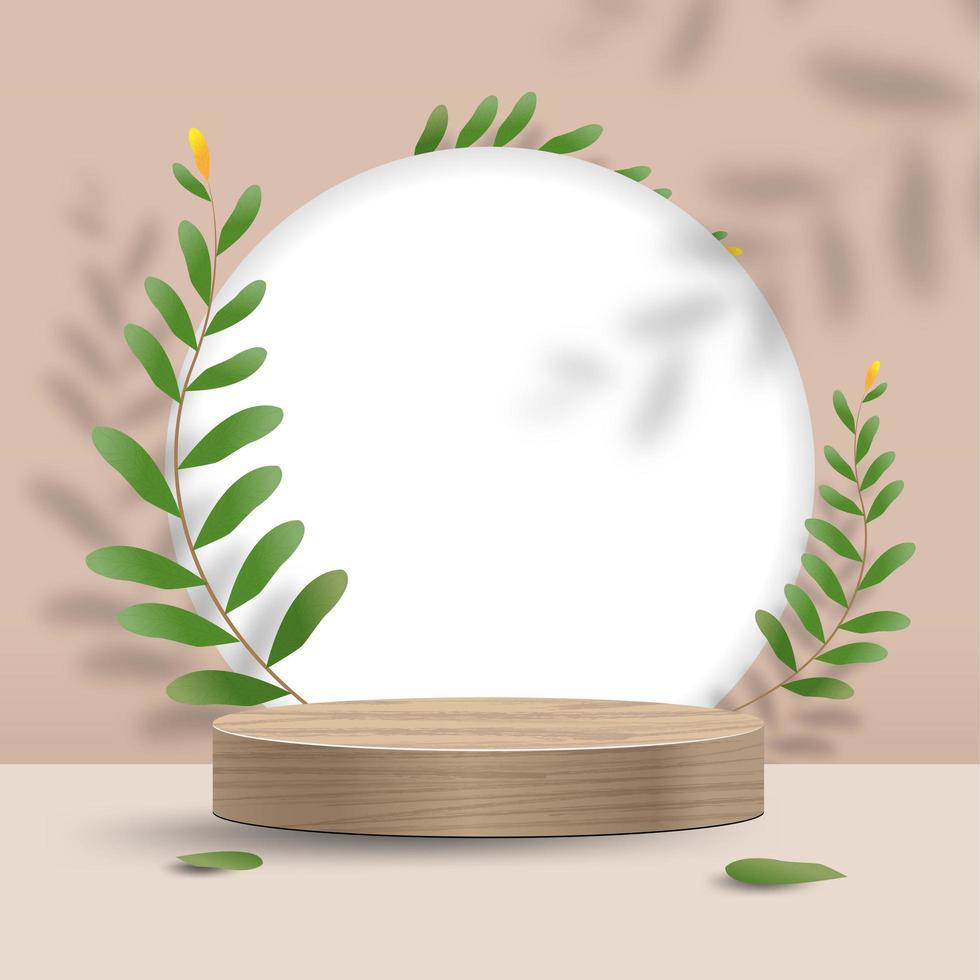 maquette minimale abstraite avec support et feuilles vecteur