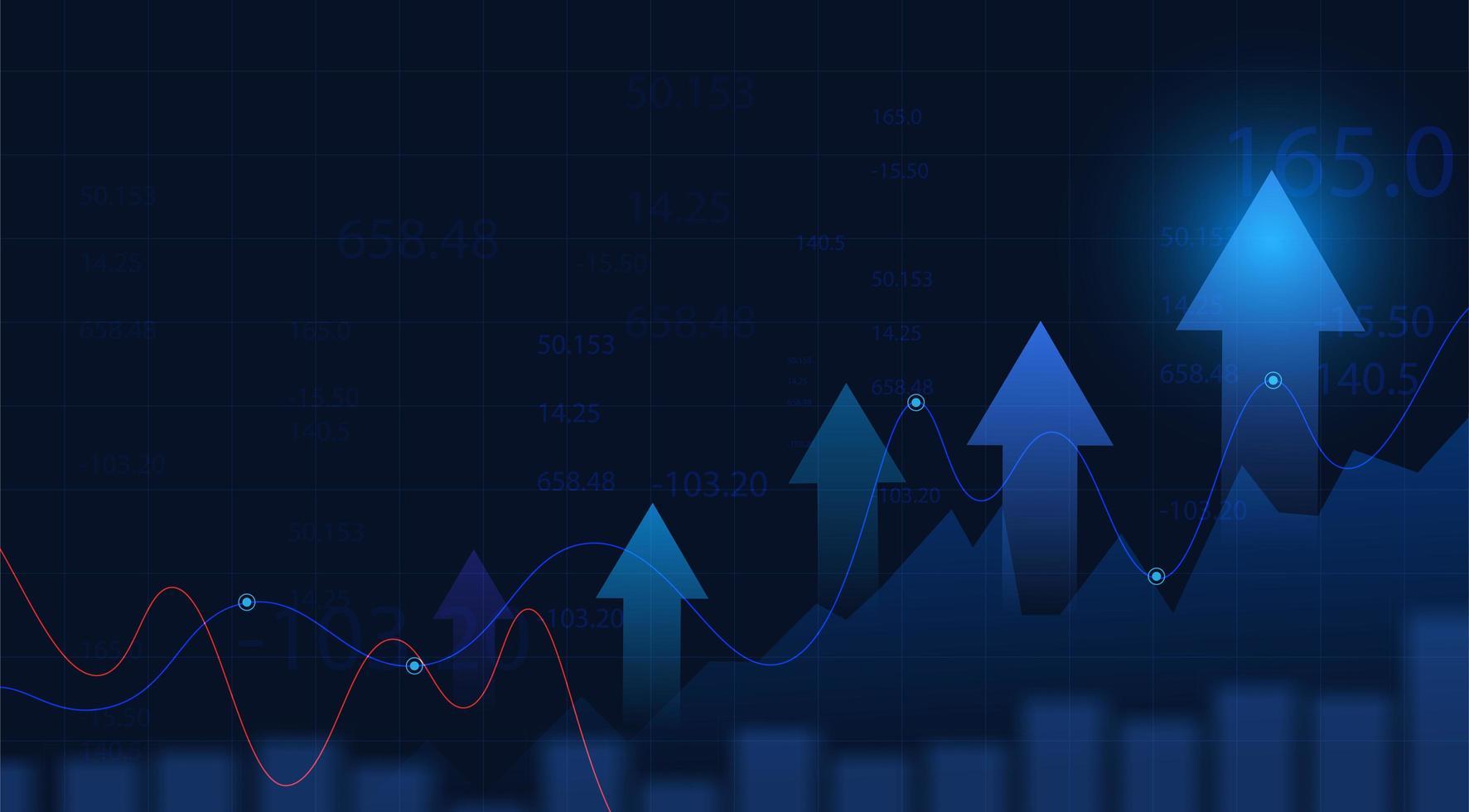Graphique graphique de l & # 39; investissement boursier sur fond bleu vecteur
