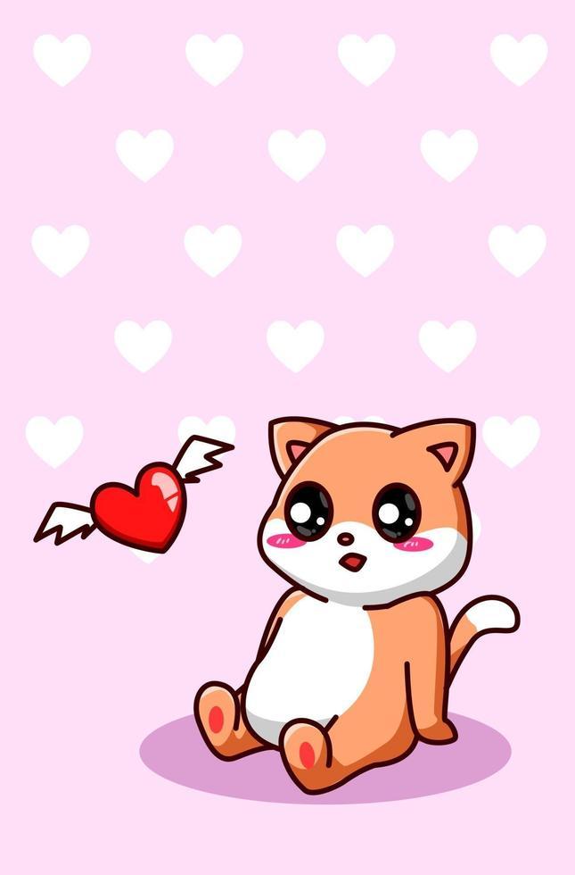 un chat heureux et drôle avec illustration de dessin animé coeur volant vecteur