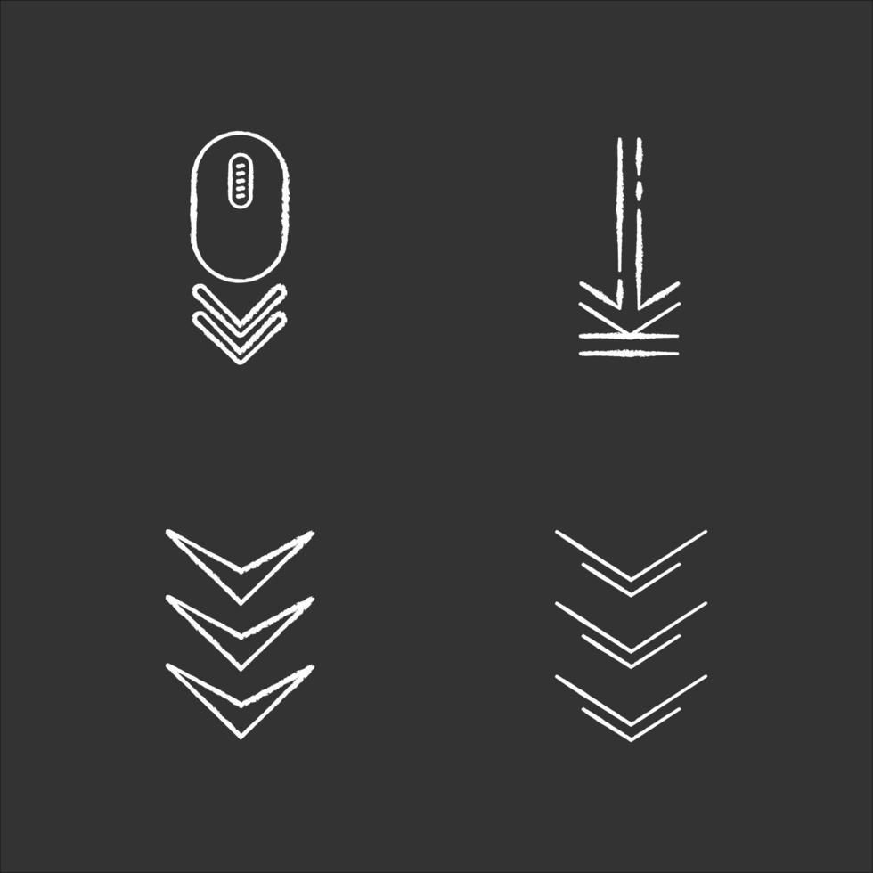 faire défiler vers le bas et télécharger des indicateurs craie icônes blanches sur fond noir. geste de défilement. bouton de navigation de l'interface flèches. curseur de page de site Web. illustrations de tableau vectoriel isolé
