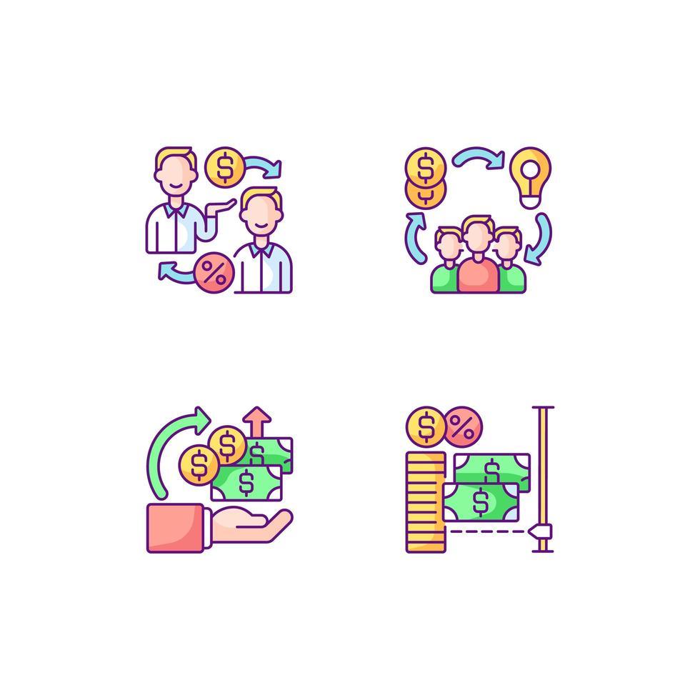 plates-formes de financement participatif numérique jeu d'icônes de couleur rgb vecteur